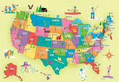 USA illustrated map by Nate Padavick (www.idrawmaps.com)