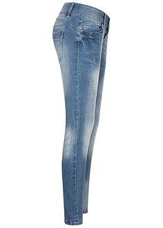 Seventyseven Lifestyle Damen Skinny Jeans Hose 5-Pockets 3er Knopfleiste hell blau Brave, Urban Surface, Madonna Mode, Streetwear Shop, Young Fashion, Street Wear, Skinny Jeans, Pants, Shopping