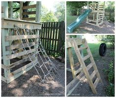 Here is a home made playground made out of pallets end other repurposed materials like an old tire for a …