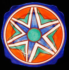 Clarice Cliff. Plate in the Leda shape and Original Bizarre pattern.