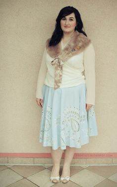 cream top, fur collar, light blue skirt, white/nude shoes