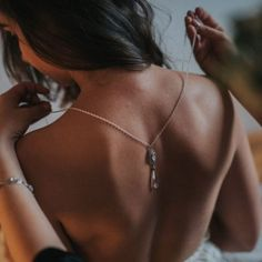 Podwójny naszyjnik na plecy - Vivienne (Crystal) - Anelle - biżuteria ślubna Swarovski