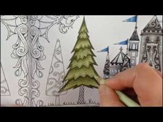 Part 3 - how to color a tree - coloring book enchanted forest - colored with prismacolor pencils Secret Garden Coloring Book, Coloring Book Art, Coloring Pages To Print, Adult Coloring, Coloring Tips, Coloring Stuff, Enchanted Forest Book, Enchanted Forest Coloring Book, Colored Pencil Tutorial