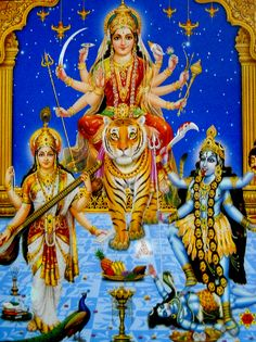 Goddess Saraswati, Durga and Kali