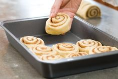 Beautiful Cinnamon Rolls..cut using unflavored dental floss I just wrap it around the dough, cross it over and pull to slice roll.