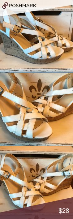 """Unisa White Strappy Wedge Sandals Size 8 Great Condition - 4.5"""" Wedge Heel - If you have any questions or concerns, please let me know. Thank you for looking at my listing. Have a blessed day! Unisa Shoes Wedges"""