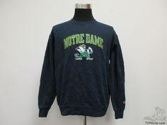Champion Notre Dame ND Fighting Irish Crewneck Sweatshirt sz L Large Football #Champion #NotreDameFightingIrish