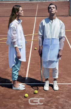 Lookbook:  Her: Sheer bomber jacket, white dress, teal pants. Him: Silver and sheer jacket, blue skirt, White pants. Tennis court, sport, sportswear, fitness, trends, unisex, campaign photos. Order via facebook, pm or e-mail.