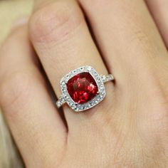 Vintage Inspired Ruby Halo Ring in 14k White Gold Cushion Cut Ruby Engagement Ring July Birthstone Gemstone Ring, Size 7 (Resizable) by LuxCrown on Etsy https://www.etsy.com/listing/201007924/vintage-inspired-ruby-halo-ring-in-14k