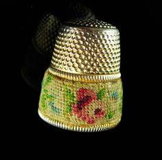 I can't even imagine the time it took to sew these tiny flowers onto material to be placed onto this thimble. Definitely something made with love.  And remember, a personal well thought out gift shows you took the time to care about that specia...