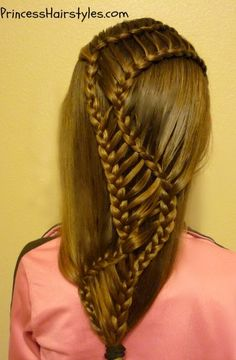 "http://www.facebook.com/princesshairstyles  ""DNA strand braid"" Spin off of cutegirlshairstyles waterfall ladder braid combo.  :)"