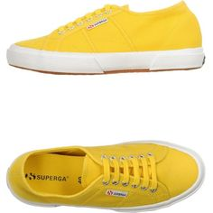 Superga Sneakers ($70) ❤ liked on Polyvore featuring shoes, sneakers, yellow, flat sneakers, round toe flat shoes, superga, superga shoes and round cap