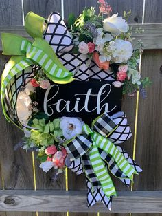 Excited to share this item from my #etsy shop: #FaithWreath #DesignerRibbonsFaithWreath #FloralFaithWreath #BuffaloCheckSummerWreath #FrontDoorWreath #InteriorWreath #homedecor #holidaze #etsyshop #google #pin #follow #holidazedecor #wallart #blacksndehigedecor #flowers