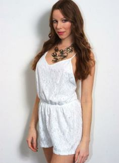 White Lace Cross Back Playsuit #romper #summer #spring #ustrendy