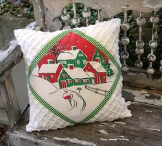 vintage tablecloth pillow | Vintage Christmas Tablecloth Pillow COVER ..Snow-Covered Village..