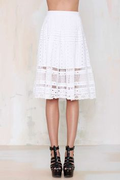 Nasty Gal Wind Cries Mary Eyelet Midi Skirt is the perfect lightweight cotton to keep it sweet or toughen up.