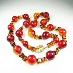 Vintage Necklace Chunky Amber Tortoise Glass Bead by zephyrvintage, $39.00