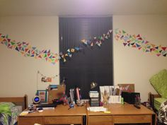 Hanging paint chip dorm decor!!! Our room is complete now!!