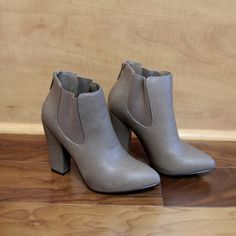"""Nina"" Leather Chunky Heel Almond Toe Ankle Booties - Putty - H.C.B."