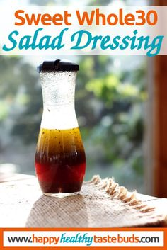 This Sweet Whole30 Salad Dressing recipe uses grape juice + a secret ingredient as Whole30 compliant sweeteners. Can you guess the secret ingredient?