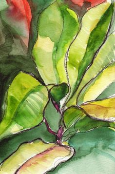 Art Painting Watercolor Tropical Abstract Lime by vhmckenzie Green Watercolor, Watercolor Leaves, Watercolor Paintings, Original Paintings, Tropical Design, Tropical Art, Tropical Flowers, Hawaiian Art, Foliage Plants