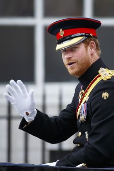 Prince Harry processes up the Whitehall during Trooping the Colour Queen Elizabeth II's Birthday Parade at The Royal Horseguards on June 11 2016 in...
