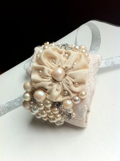 Embellished, Beaded, Bridal/ Formal Wrist Cuff, Bracelet, Wrist Corsage Vintage Jewels and Fabric, Off White, Cream OOAK