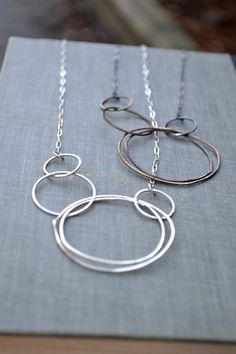 Asymmetric Multi Circle Necklace large circle necklace