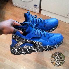 "MGXCustoms — Huarache ""Blue Speckle"" Custom"