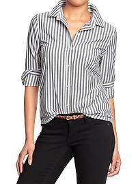 Gray and white stripe button down shirt - old navy