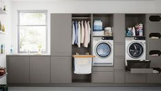 Who says utility rooms have to be boring. When attention to detail is your thing call taylorscot always thinking outside the box!… Like the built in storage for galley style laundry room with window Utility Room Storage, Laundry Room Organization, Built In Storage, Storage Shelves, Utility Room Ideas, Utility Sink, Storage Room, Laundry Room Design, Kitchen Design