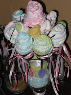 washcloth roses for baby shower
