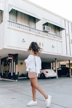 Off_The_Shoulders-Chicwish-Valentino_Bag-Monnier_Fevres-Sneakers-Saint_Laurent-Reformation_Shorts-Outfit-Los_Angeles--37 Collage Vintage, Valentino Bags, Fashion 101, Reformation, Short Outfits, Fashion Inspiration, Saint Laurent, Mini Skirts, White Dress