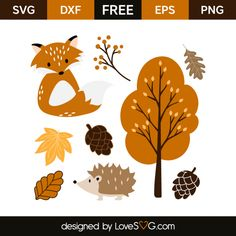 *** FREE SVG CUT FILE for Cricut, Silhouette and more *** Autumn Animals