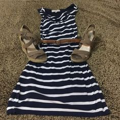 Blue and white striped Loft dress Nautical inspired dress from Loft. Has a slight cowl neck at front. Pair this with wedges for a Cute summer look! LOFT Dresses