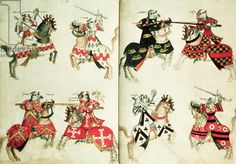 MS Harley 4205 fol.31v-32  Jousting knights showing heraldic emblems (vellum)