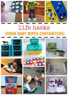Awesome list of really cool things you can do with a baby wipes container. We love life hacks!