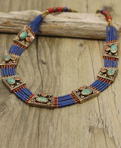 Artistic Blue Lapis Lazuli Tibetan Necklace