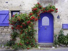 Salt Worker's (Paludiers) Cottage Photographic Print by Barbara Van Zanten Front Door Colors, Front Doors, Front Fence, Entrance Doors, Front Entry, Unique Doors, Orchid Care, Doorway, Geraniums