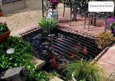 An image of a child safety pond cover with a stylish, and subtle Cushion Design, made from galvanized and powder coated steel.
