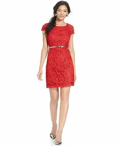 Luxology Dress, Cap-Sleeve Belted Lace Sheath - Dresses - Women - Macy's