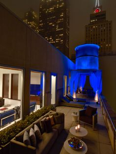 Penthouse Terrace at night at The Joule