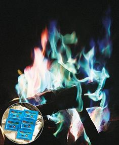 This Set of 5 Colorful Fire Packets will transform your fire into a dazzling display of vibrant colors. Simply toss an unopened pack into your indoor/outdoor wood-burning fire and watch as the flames transform to shades of blue, green, purple and mor Solar Deck Lights, Deck Lighting, Water Lighting, Indoor Outdoor, Outdoor Living, Outdoor Decor, Rv Living, Sunshade Awning Gazebo, Picnic Table Covers