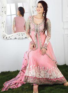 Alluring Pink Net Stone Work Anarkali Suit