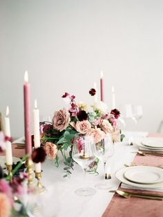 dusty rose mauve and burgundy wedding table setting ideas Rose Petals Wedding, Wedding Cake Roses, Dusty Rose Wedding, Rose Wedding Bouquet, Wedding Flowers, Pink And Burgundy Wedding, Pink Wedding Colors, Dusty Pink Weddings, Pink And White Weddings