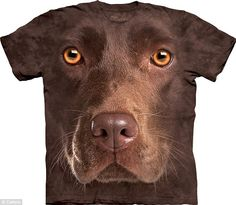 3D: The eye-catching t-shirts feature close-up headshots of animals - including this one of a chocolate lab - The Mountain Co.