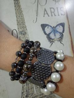 Mix de pulseiras grafite e preto #ilove #atelie #acessorios