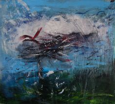 VOLO TRA LE NUBI, acrilico su tavola cm. 40 x 30 - 2014
