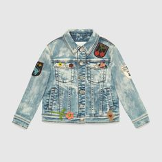 Gucci children's denim jacket with floral embroidery and crochet and felt appliqués.