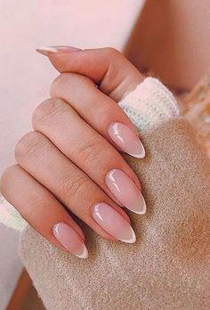 Almond Acrylic Nails, Best Acrylic Nails, Almond Nail Art, French Nails, Short French Tip Nails, Short Oval Nails, Short Almond Nails, Cute Nails, Pretty Nails